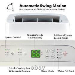10,000 BTU Portable Air Conditioner 450 sq. Ft A/C Dehumidifier Vent Kit Remote