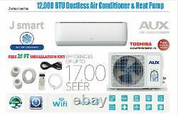 12000 BTU Ductless Air Conditioner, Heat Pump Mini Split WIFI 1 Ton 25 ft Kit