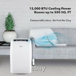 12000 BTU Portable Air Conditioner Cool 550 sq. Ft Dehumidifier 86 Pint/Day Vent