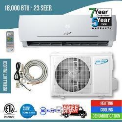 18,000 Btu 23 Seer Ductless Mini Split Air Conditioner Heat Pump
