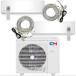 2 Zone Ductless Mini Split Air Conditioner A/C 12000 18000 with remotes+kits
