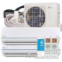 36000 BTU Dual Zone Ductless Mini Split Air Conditioner and Heat Pump 22 SEER