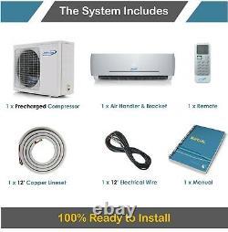 Air Con 18000 BTU Mini Split AC Heat Pump Ductless Air Conditioner 23 Seer