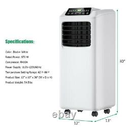 Costway 8,000 BTU Portable Air Conditioner & Cooling Dehumidifier withRemote White