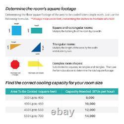 DELLA 14000 BTU Portable A/C Air Conditioner + 1050W Heater + Dehumidifier + Fan