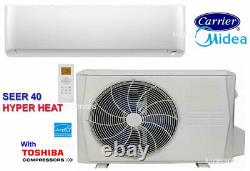 MIDEA CARRIER SEER 40 9000 BTU Ductless Mini Split Air Conditioner HYPER HEAT
