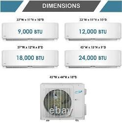 Multi 3 Zone Mini Split Heat Pump Air Conditioner AC 9000 9000 18000 BTU 21 Seer