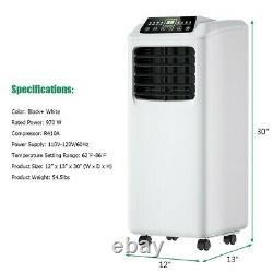 Portable Air Conditioner 8,000 BTU Cooling Dehumidifier Cooler Remote Control