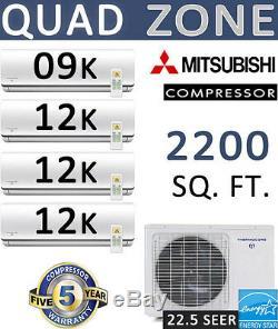 QUAD Zone Ductless Mini Split Air Conditioner, Heat 45000 BTU 9000 + 12000 x 3