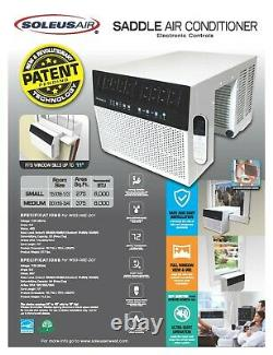Soleus Air 8000 BTU Window Sill Saddle Air Conditioner with Wi-Fi -Refurbished