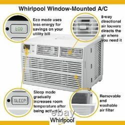 Whirlpool 10,000 BTU Window Air Conditioner with Remote, White, WHAW101BW