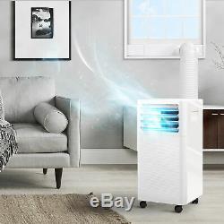 White 9,000 BTU Portable Air Conditioner Remote Dehumidifier Fan With Window Kit