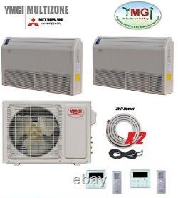 YMGI 18000 BTU 21 SEER DUAL ZONE DUCTLESS MINI SPLIT AIR CONDITIONER Heat Pump