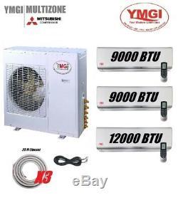 YMGI 30000 BTU 21 SEER Three ZONE DUCTLESS MINI SPLIT AIR CONDITIONER HEAT PUMP
