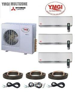 YMGI 42000 BTU 21 SEER Tri ZONE DUCTLESS MINI SPLIT AIR CONDITIONER HEAT PUMP