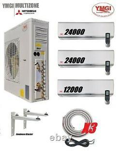 YMGI 60000 BTU 5 Ton 3 Zone Ductless Mini Split Air Conditioner Heat Pump System