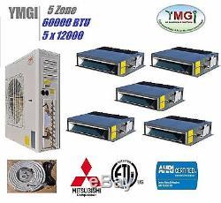 YMGI 60000 BTU 5 Zone Ductless Mini Split Air Conditioner Heat pump 220V LKS