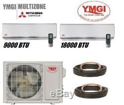 Ymgi 27000 Btu 9000+18000 Dual Zone Ductless Mini Split Air Conditioner Alsk