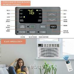 10.000btu Fenêtre Montée Climatiseur Led Affichage Télécommande Timer Blanc
