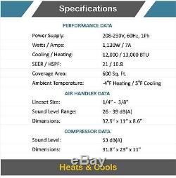 12000 Btu 21 Seer Ductless Mini Climatiseur Split Pompe À Chaleur Aircon 1 Ton Ac