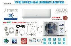 12000 Btu Ductless Climatiseur, Pompe À Chaleur Mini Split 115v 1 Ton Kit Pieds Avec 12