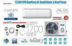 12000 Btu Ductless Climatiseur, Pompe À Chaleur Mini Split Wifi 1 Ton 12 Ft Kit
