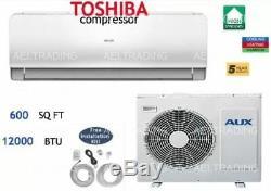 12 000 Btu Ductless Climatiseur, Pompe À Chaleur Mini Split 110v & Wifi Withkit 1 Tonne