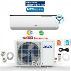 12 000 Btu Ductless Climatiseur Pompe À Chaleur Mini Split Wifi 115v 1 Tonne Avec Le Kit