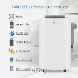 14 000 Btu Climatiseur Portable Chauffe Dehumidifier Refroidissement A / C + Led À Distance