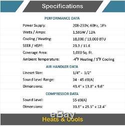- 23 18000 Btu Seer - Ductless Mini Split Climatiseur Pompe À Chaleur 1,5 Tonnes