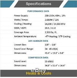 24000 Btu 21 Seer Ductless Mini Climatiseur Split Pompe À Chaleur 2 Ton Ac