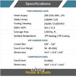24000 Btu 21 Seer Mini Climatiseur Split Thermopompe Sans Conduit 2 Tonnes Ac