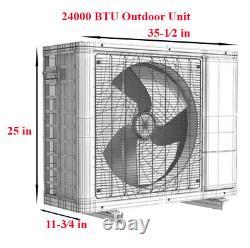 24000 Btu Aux Mini Climatiseur Fractionné Thermopompe Inverter 230v 12 Ft