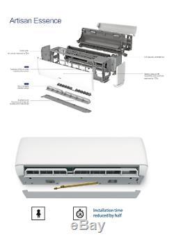 24000 Btu Ductless Climatiseur, Pompe À Chaleur Mini Split 230v 2 Tonnes Avec 12 Pi Kit