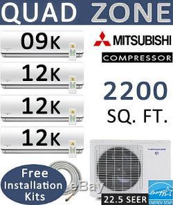 45000 Btu Quad Zone Ductless Climatiseur Split Pompe À Chaleur 9000 + 12000 X 3