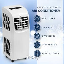 8000 Btu Climatiseur Portable De Refroidissement A / C Refroidir Ventilateur Intérieur Avec Télécommande, Blanc