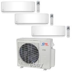 Tri 3 Zone Ductless Mini Split Air Conditioner Pompe À Chaleur 9000 12000 18000 Multi