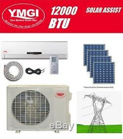 Ymgi 12000 Btu Hybride Solaire Ductless Mini Split Pompe À Chaleur Climatiseur 1 Ton