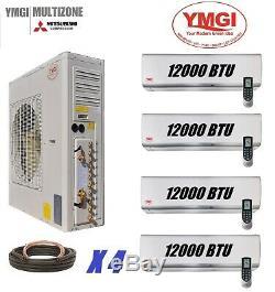 Ymgi 48000 Btu Quad Zone Ductless Mini Climatiseur Split Pompe À Chaleur 4x12000