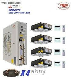 Ymgi 54000 Btu Four Zone Ductless Mini Split Air Conditioner Pompe À Chaleur Accueil Jht